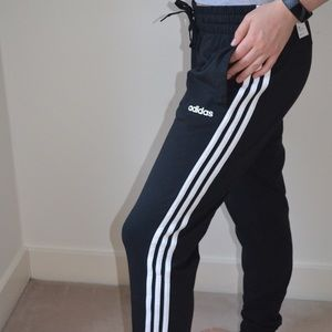 NWT Adidas Side Stripe Black Jogger Track Pants